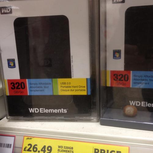 320gb Western Digital Hard drive £26.49 from £49.97 @ Tesco