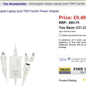 Kensington Apple Laptop Ipod 70W Car/Air Power Adapter 49p + 99p delivery @ brooklyn trading