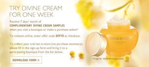 7 Day Trial of Divine Cream @ L'Occitane