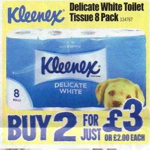 16 (2x8 pack) Kleenex Toilet Rolls £3.60 inc VAT @ JFT (22.5p per Roll) buy this coming weekend and save an additional 10%