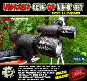 2 x Upgraded Cree Q5 MTB mountain bike torch lights head light set + rear LED £15.99 @ ebay  jamtastics