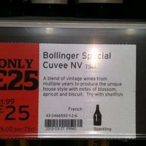 Bollinger champagne half pice £25.00 @ Sainsburys instore