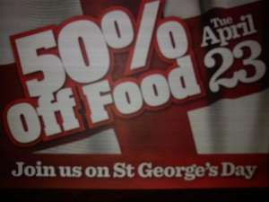 50% off food st Georges day at Yatess Blackpool