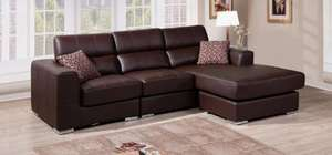 Renaissance Reversible Leather Corner Sofa Chocolate Brown or Black Adjustable Head Rests  Left & Right Hand facing (pictures1st post) £499 @ Leather Sofa World