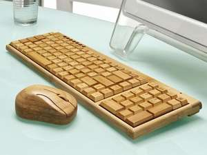 Wooden Bamboo Wireless Keyboard & Mouse - Compact (10% TCB/Quidco @ Safield