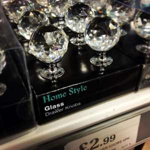Glass Drawer Knobs 4pk, £2.99 at Home Bargains