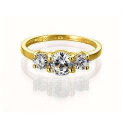 Gold Plated Silver Cubic Zirconia 3-Stone Ring, M for £5 at Tescos