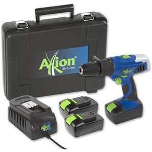 Axminster Tool Centre - Axion Combi Drill Li-Ion 18V with 3 Batteries - now only £54.95 - free delivery.
