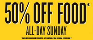 50% off food in all Scream Pubs (today only) at Scream Pubs