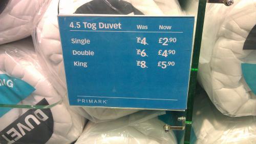 Reduced 4.5 Tog Duvet - £2.90 in Primark