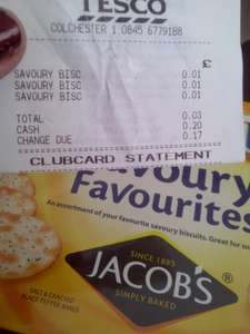 Tesco Jacobs Savoury Crackers 1p