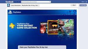 Free Playstation Plus membership (1 Month) for anyone who visits Playstations Facebook Page