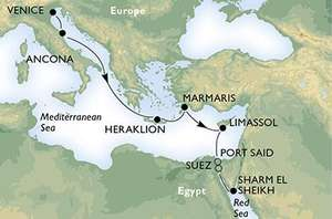 9 NIGHT CRUISE SO;O TRAVELLER £225 TO £405 WITH MSC NOVEMBER 1st 2013