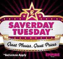 Adult Cinema ticket from £2.95 to £3.95  on Tuesdays at Empire Cinemas