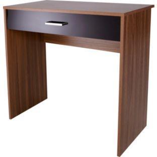 Caspian 1 Drawer Desk - Walnut and Black Gloss - Argos - £39.99