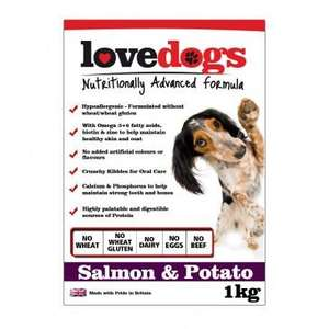 Love Dogs Salmon & Potato FREE 1kg Trial Bag of dog food (worth £6.99) @lovepets.co.uk
