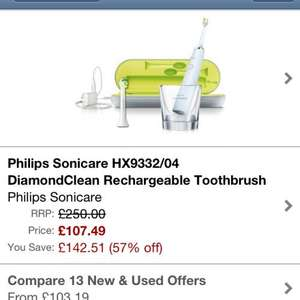 Philips sonicare diamond clean £107.99 @ Amazon