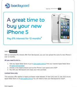 0% interest for 12 months on any Apple products over £429 with Barclaycard