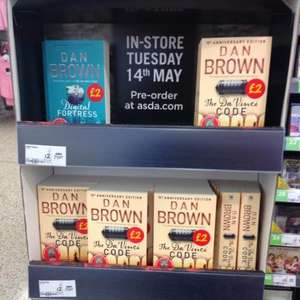 Dan brown books paper back in store at Asda £2