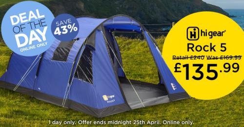 Hi Gear Rock 5 tent £135.99 @ gooutdoors