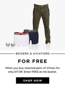 Brave Soul Chinos with free boxers and aviators @TheHut £17.99
