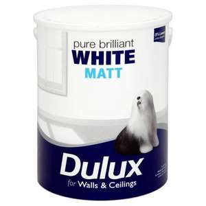 dulux brilliant white matt paint 5L for £10. was £15.97 @ Asda