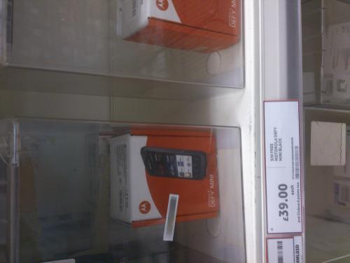 Motorola Defy Mini. £39 instore at Tesco