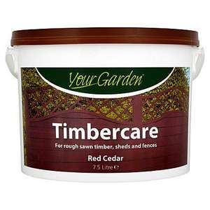 Your Garden Fence Paint- 7.5L (Cedar Red OR Green) Now £5 @ Asda Direct
