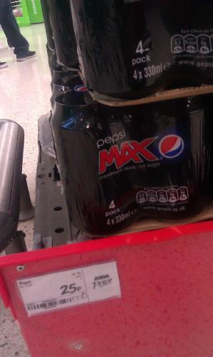 Pepsi max cans 4 x 330ml - 25p instore @ ASDA (Park Royal)