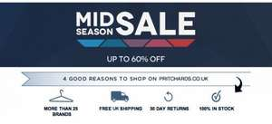 Pritchards Menswear upto 60% off Designer Clothing & Accessories
