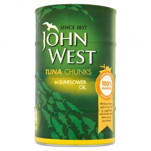JOHN WEST 4X TUNA CHUNKS IN BRINE/ SUNFLOWER OIL £3 @ POUNDSTRETCHER