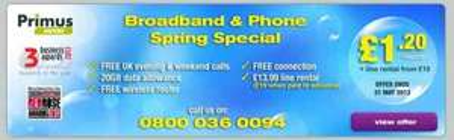 Primus Saver Broadband/Phone Package, £11.20 p/m