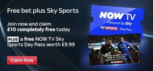 Free Now TV 24 hour pass & Free no obligation £10 bet @ SkySports (SkyBet)