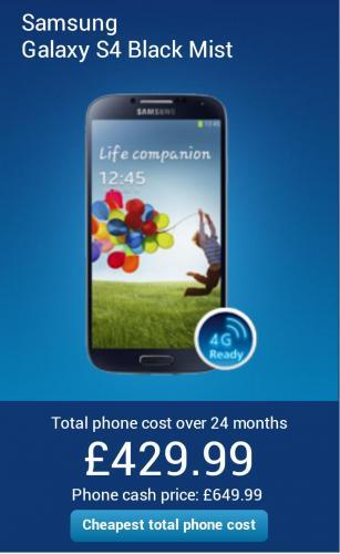 Samsung Galaxy S4 £429 @ O2