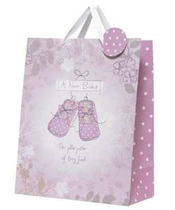 Extra large gift bag for new baby girl Was £3.75 Now 40p (using code) @ Mothercare