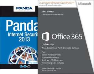 4 year Office 365 subscription for up to 2 PCs + Panda Internet Security 2013 + 20 GB additional SkyDrive storage + 60 minutes Skype calls p/m - (student email address required) -  Microsoft.com - £59.99 (£50.99 after 15% Quidco)
