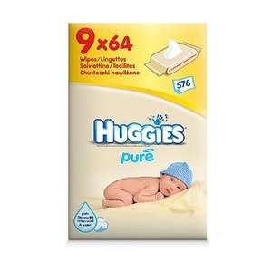9 packs of huggies pure baby wipes at asda for £3.50