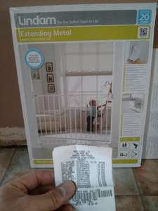 Lindam extending metal baby gate £9 Asda. Reduced from 15