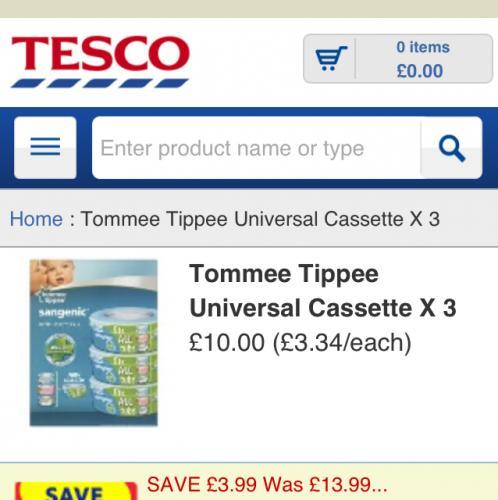 Tommee tippee sangenic refill cassettes pk 3 £10.00 @ tesco