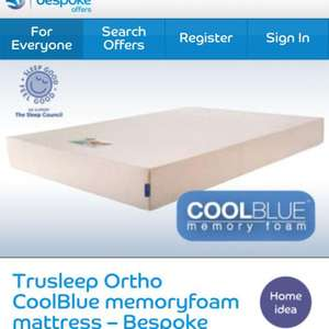 Trusleep ortho cool blue memory foam mattress £199 including p &p @ Barclaycard Bespoke Offers