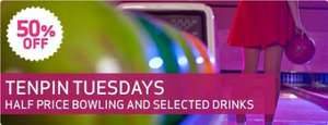 3 Games of bowling for £7 and half price drinks on tuesdays at Tenpin bowling alleys