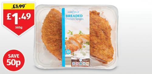 Breaded Chicken Steaks 505g £1.49 @ Aldi