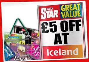 £5 off a £25 spend at Iceland in the Daily Star Friday 17/5/13 also available on Daily Star app