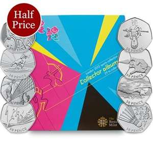 London 2012 Sports 50ps, Folder and Completion Medallion now £20.00 + £3.00 Shipping @ The Royal Mint