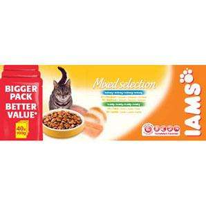 Iams cat food (wet and dry) - Buy one, get one half price £22.50 @ Pets at Home