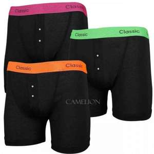MENS CLASSICS BLACK NEON BOXERS BOXER SHORTS TRUNKS 3 PAIR PACK sizes S to 2XL £4.99 inc free delivery @ Ebay/arndale.sales