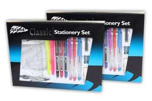 Grafix exam stationary set with clear pencil case (2 sets) £5.99 delivered @ littewoods eBay