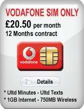 Vodafone 12 month SIM only contract, £20.50 a month 12months (£8.00/month after cashback(£150))