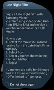 Free late night movie with Samsung Video Hub is back