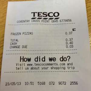 Price Glitch. Everyday Value 4 Cheese & Tomato Pizzas. Only 37p instore @ Tesco